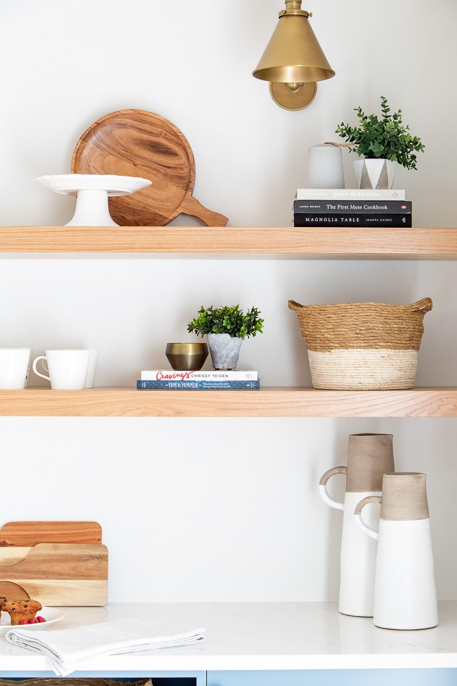 Wood shelves kitchen design