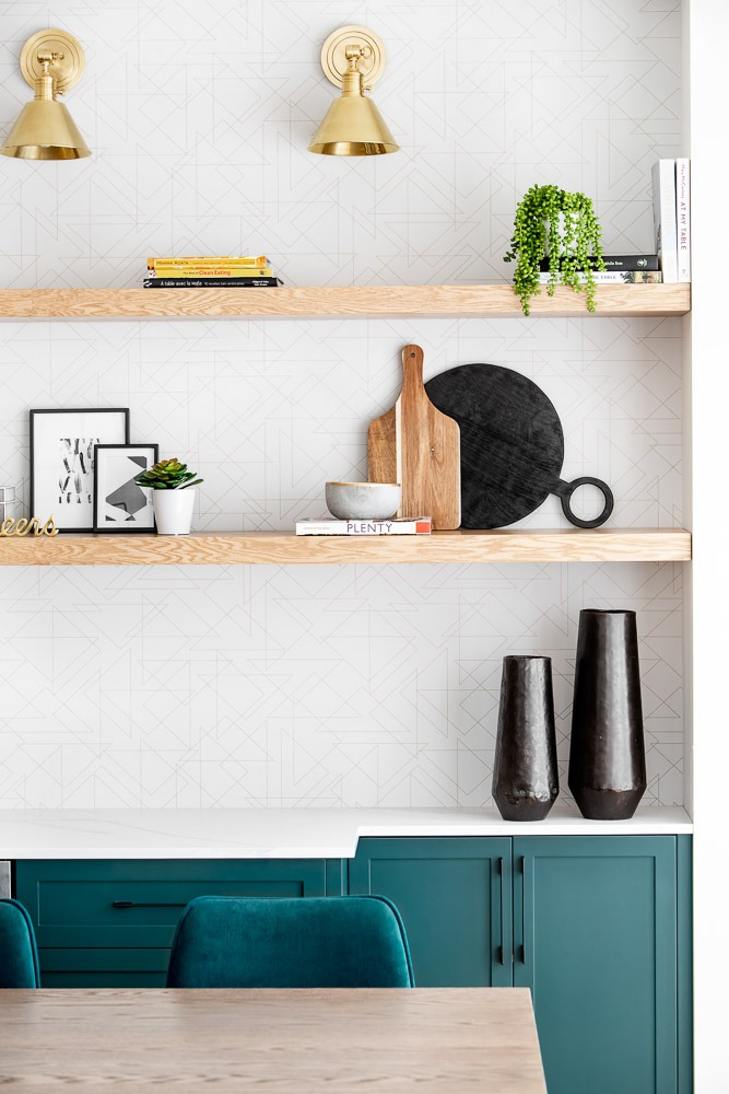 Modern kitchen green cabinets and shelving
